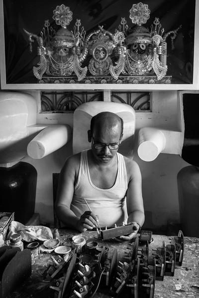 Man Making Jagannath Idols, Puri, Orissa