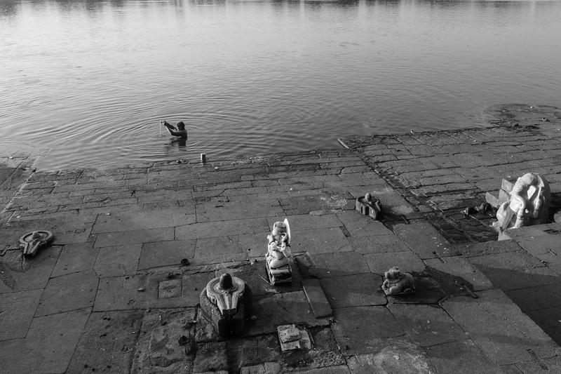 Morning Prayers in the Narmada River, Maheshwar, Madhya Pradesh