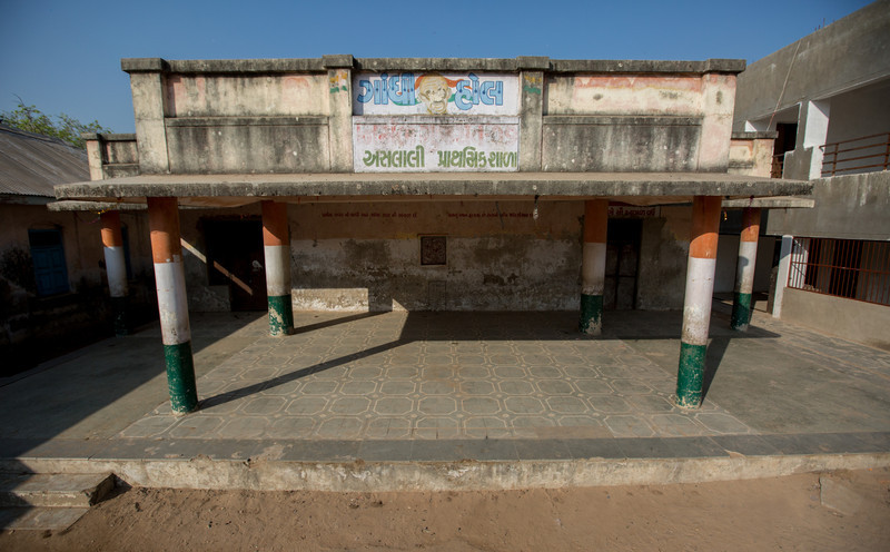 Aslali Prathmik Shala (school), where Gandhi stayed on the first night of The Salt March. Still a school today. The Salt March Route, 2014, Gujarat, India.
