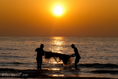 The day of fishing ends on Patnem Beach, Goa, India