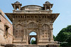 Beautiful East Porch of the Jami Masjid with its carved stone screens (jalis), Champaner, Gujarat, India