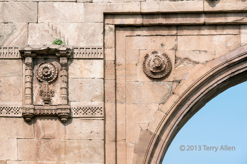 Detail of the East Bhadra Gate, Champaner-Pavagadh Archeological Park in Gujurat State, west of Vadodara (formerly Baroda), India. This area is a UNESCO World Heritage site with a blend of Hindu and Moslem ancient sites from pre-historic to the 16th century.