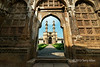 Jami Masjid (mosque) seen from the East Porch. showing the beautiful carved stone screens (jalis), Champaner, Gujarat, India