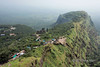 Pilgrim path up Pavagadh Hill and old grain storage structure, Gujurat, India