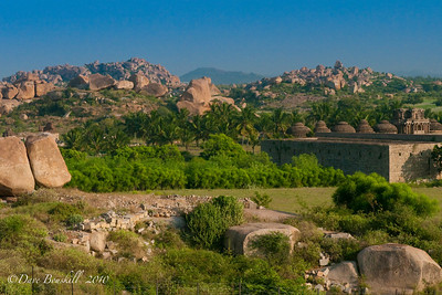 Landscape of boulders at Hampi Ruins in Karnataka, India