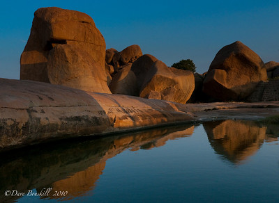 Reflections of Hampi Ruins in Karnataka, India