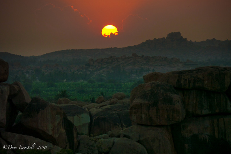 sunset over hampi India's rocky landscape