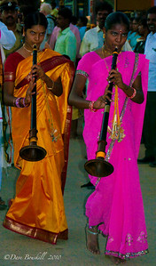 Women with their instruments in the Hampi Festival in Karnataka India