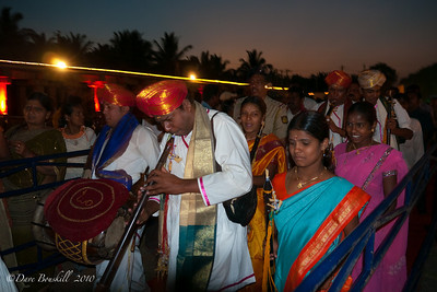 Sundown festivities begin at the Hampi Ruins in Karnataka India