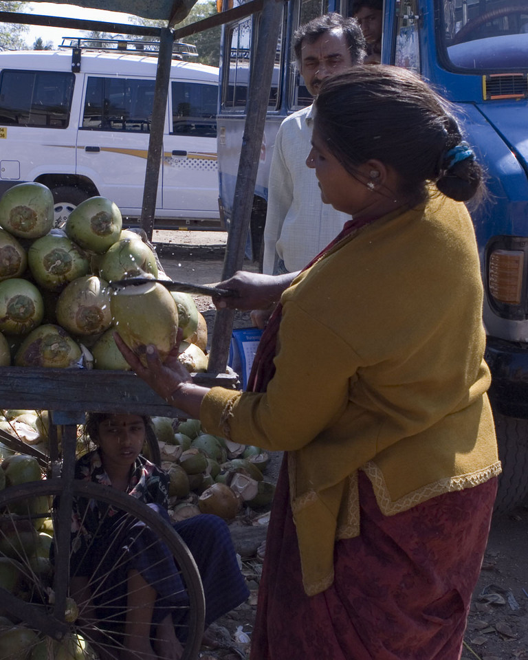 Fresh tender coconut for a quick drink.