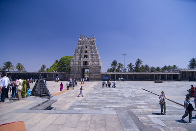 Walkway to the main goppuram (gate). You must visit the temple without shoes which is challenging considering the large courtyard is paved  with local granite, VERY HOT.