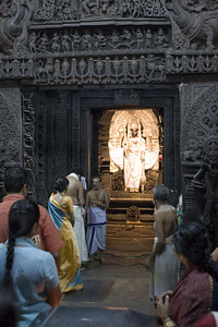 Worshippers coming for their pujas (prayers) at this active temple.