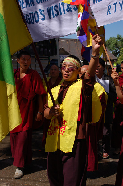 Monks march through McLeod Ganj to protest Chinese occupation of Tibet