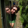 Yann sticking his head out the window of the Shimla-Kalka toy train