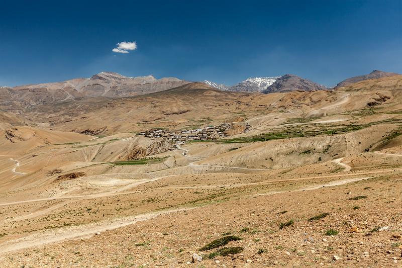 Kibber village in Himalayas. Spiti Valley, Himachal Pradesh, India
