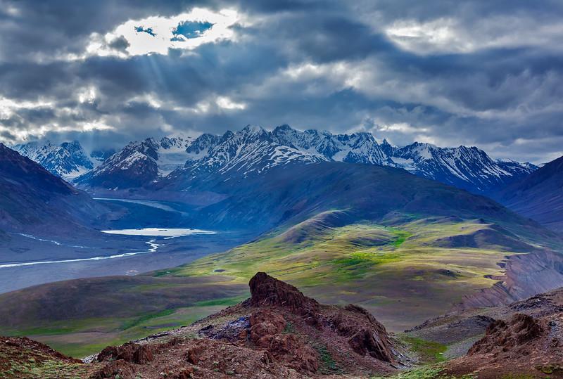 Himalayan landscape near Chandra Tal lake. Spiti Valley, Himachal Pradesh, India