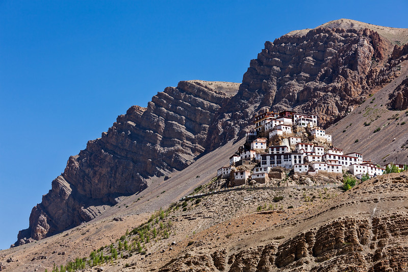 Key Gompa (also spelled Ki, Kye or Kee) is a Tibetan Buddhist monastery - the biggest monastery of Spiti Valley.  Spiti Valley, Himachal Pradesh, India
