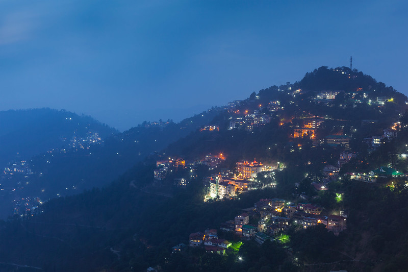 Night view of Shimla - the capital of Indian state Himachal Pradesh. Shimla, Himachal Prades, India
