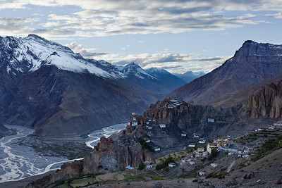 Dhankar Monastery perched on a cliff and Dhankar Village in Himalayas. Spiti Valley, Himachal Pradesh, India