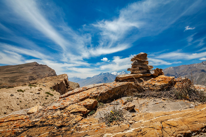 Stone cairn in Spiti Valley, Himachal Pradesh, India