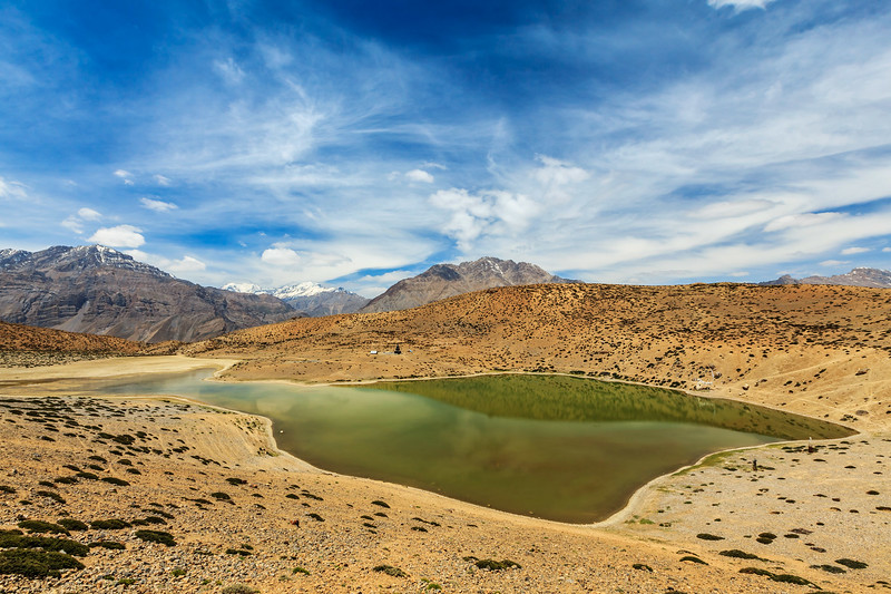 Dhankar lake in Himalayas. Spiti valley, Himachal Pradesh, India