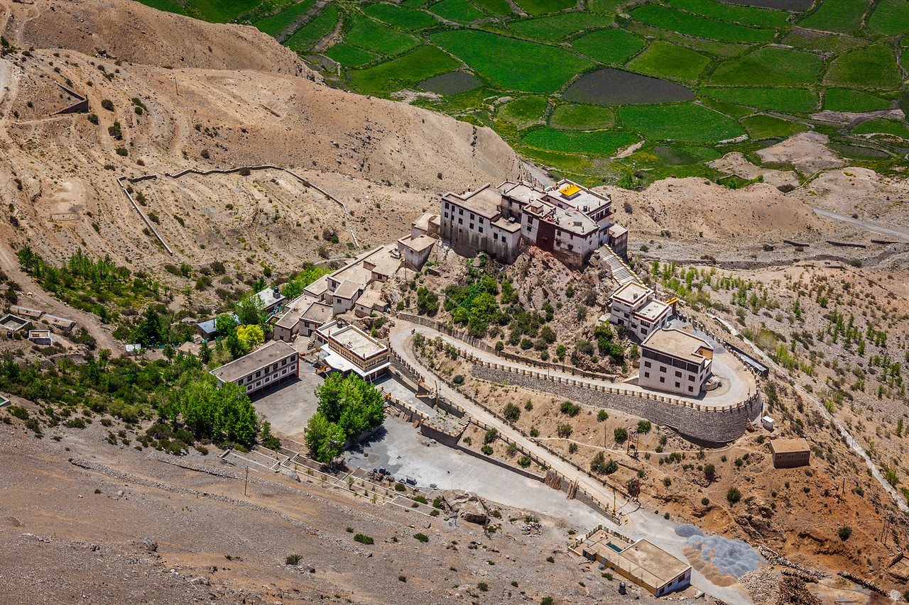 Aerial view of Key Gompa (also spelled Ki, Kye or Kee) is a Tibetan Buddhist monastery - the biggest monastery of Spiti Valley.  Spiti Valley, Himachal Pradesh, India