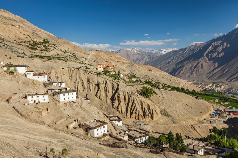 New Dhankar gompa (monastery) and Dhankar village, Spiti valley, Himachal Pradesh, India