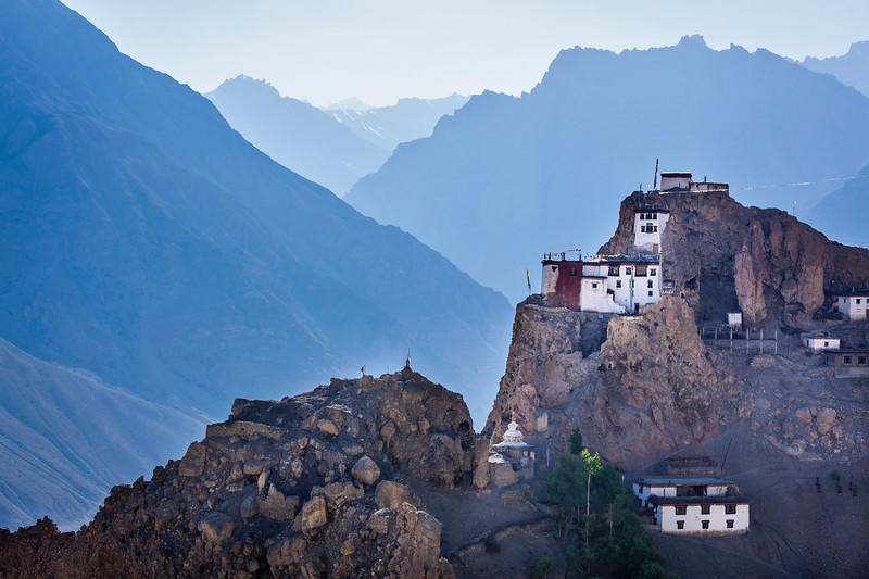 Dhankar gompa (monastery) on cliff. Dhankar, Spiti valley, Himachal Pradesh, India