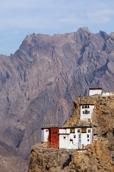 Dhankar gompa (monastery) on cliff. Dhankar, Spiti valley, Himachal Pradesh, India