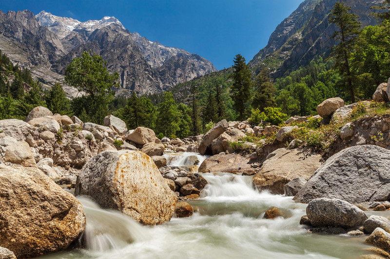 Mountain stream in Himalayas. Sangla valley, Himachal Pradesh, India