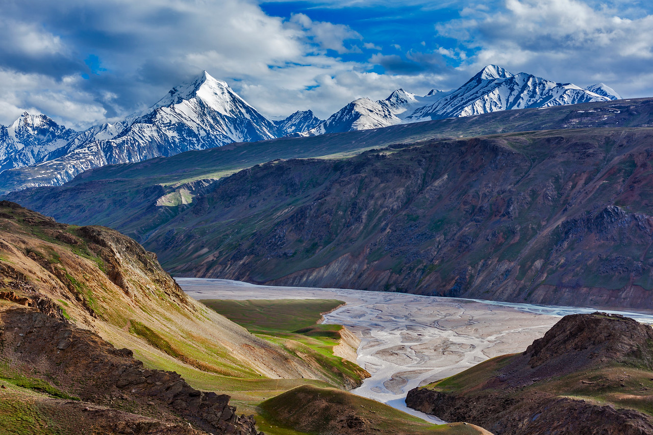 Himalayan landscape near Chandra Tal lake. Spiti Valley, Himachal Pradesh, India
