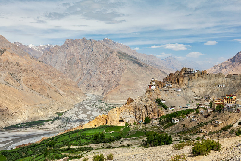 Dhankar gompa (monastery) on cliff and Dhankar village in Himalaya. Dhankar, Spiti valley, Himachal Pradesh, India