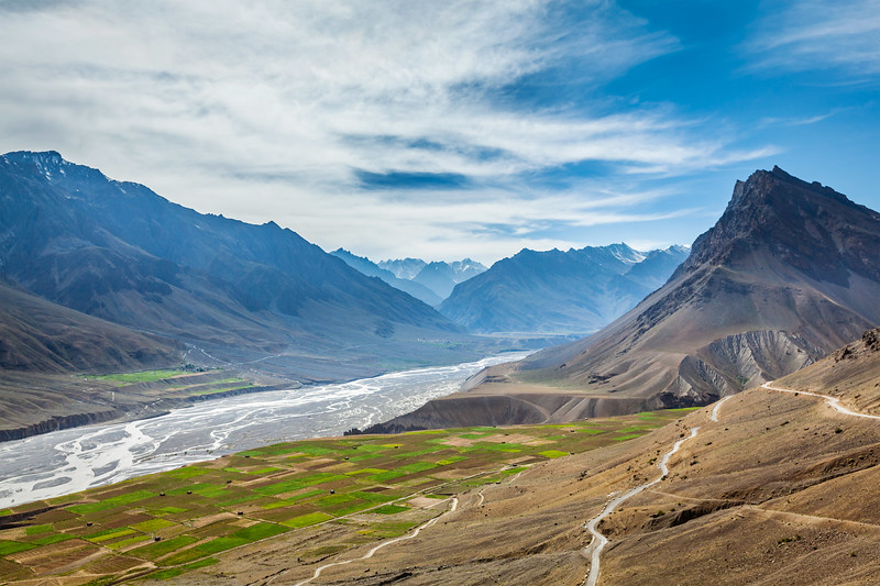 Spiti valley and Spiti river in Himalayas
