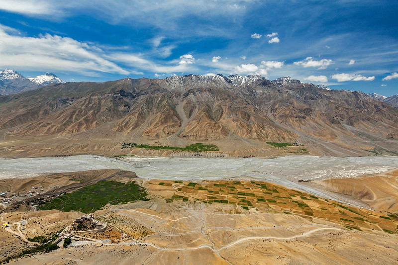 Aerial view of Spiti valley and Key gompa in Himalayas. Spiti valley, Himachal Pradesh, India
