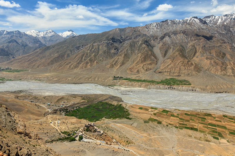 Aerial view of Spiti valley and Ki gompa in Himalayas. Spiti valley, Himachal Pradesh, India