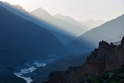 Spiti valley in rays of the setting sun. Spiti valley, Himachal Pradesh, India