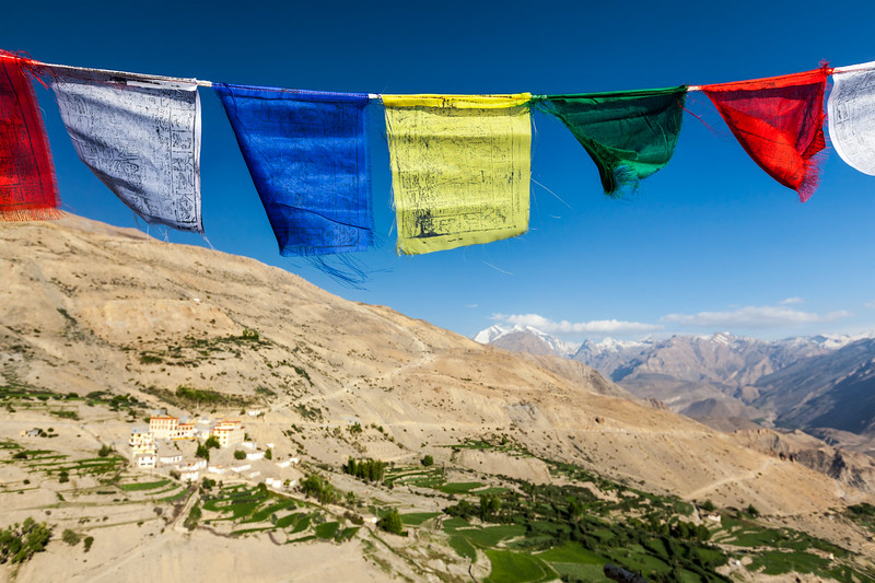 Buddhist prayer flags (lungta) in Spiti valley.  Dhankar, Spiti valley, Himachal Pradesh, India