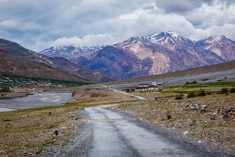 Road in Himalayas, Spiti valley, Himachal Pradesh, India