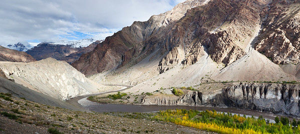 Panorama of Spiti valley in autumn, Himachal Pradesh, India