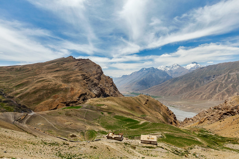 View of Gete village and Spiti valley in Himalayas. Spiti valley, Himachal Pradesh, India