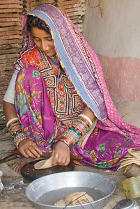 Woman Preparing Chapatties, Rann of Kachchh, Gudjarat, India