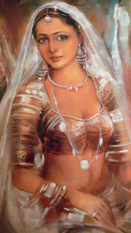 Possibly a picture of Rani Padmini. Rani Padmini was queen of Chittor (also called Chittorgarh). Famed for her beauty, the conquering armies of Alauddin Khilji (of the incomplete Alai Minar and Alai Darwaza fame in Delhi) agreed to dispense with the siege of Chittor if Khilji was allowed to meet Rani Padmini. After much deliberation, Ratan Singh, Padmini's husband, agreed to let Khilji get a glimpse of Padmini through a complex arrangement of mirrors. He did get a brief glimpse, and that was enough to convince him that a glimpse simply wouldn't do. He waged war against Chittor, mostly to possess what he considered its prize jewel, Rani Padmini. After a volley of battles, Chittor fell. The men of Chittor perished in battle, and Rani Padmini and several womenfolk immolated themselves in a Rajput ritual called jauhar.