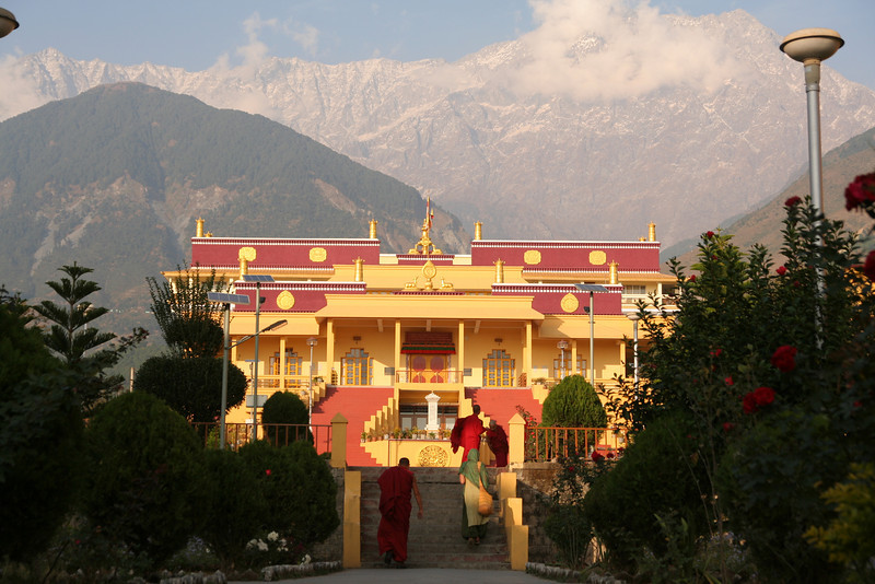 Karmapa's Temple with the Himalayas behind it.
