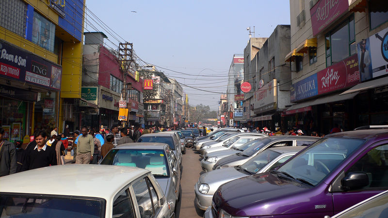 A crowded street in Karol Bagh in New Delhi