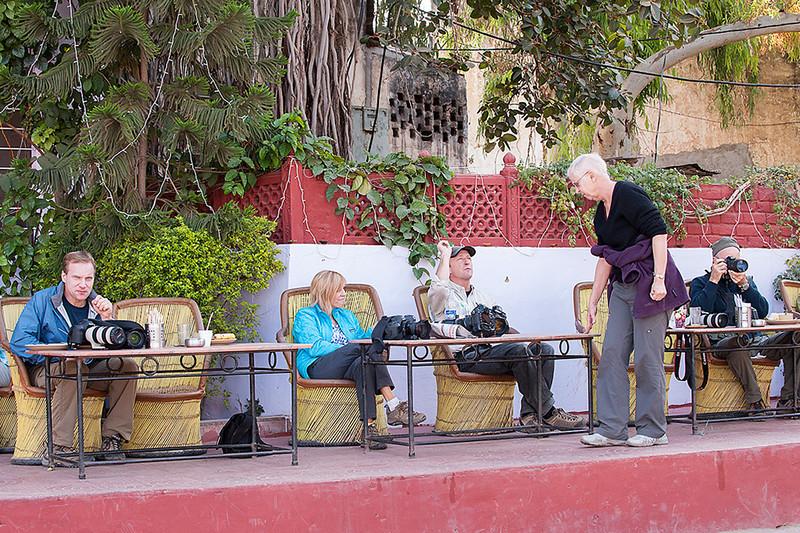Taking a break at the Sunset Café, Pushkar