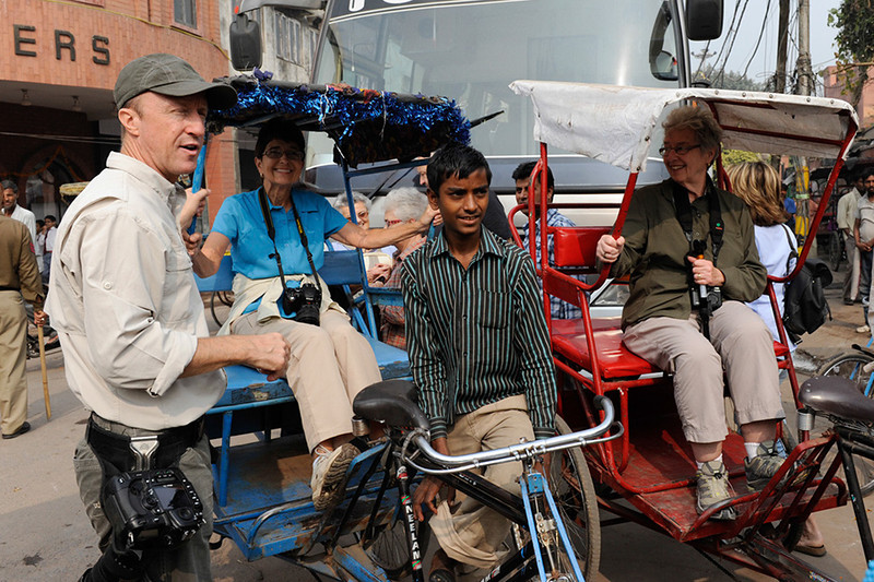 Arriving at Jamma Mosque in Delhi by cycle rickshaw
