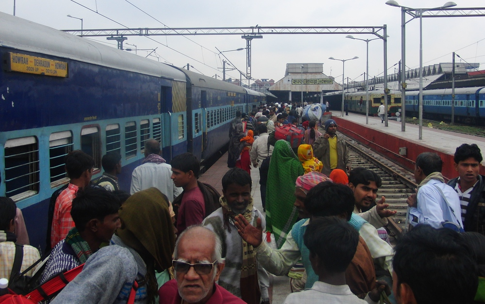Crowded station India Railways