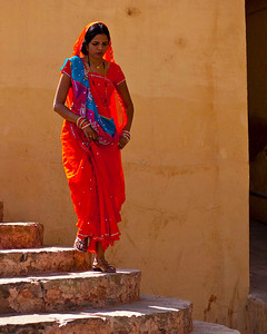 Descending the stairs at the Amber fort Jaipur