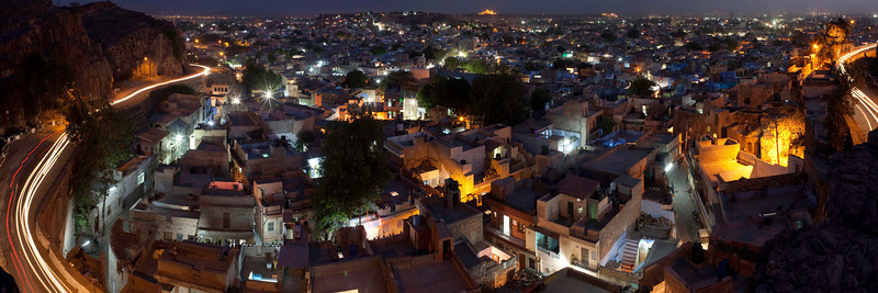 Jodhpur at sunset with streaking car lights and starbursts from the lamps