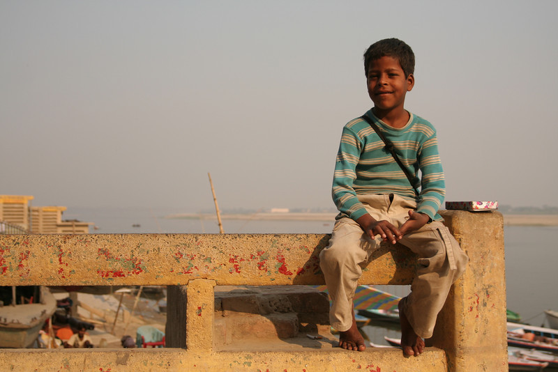 An friend selling postcards in Varanasi.